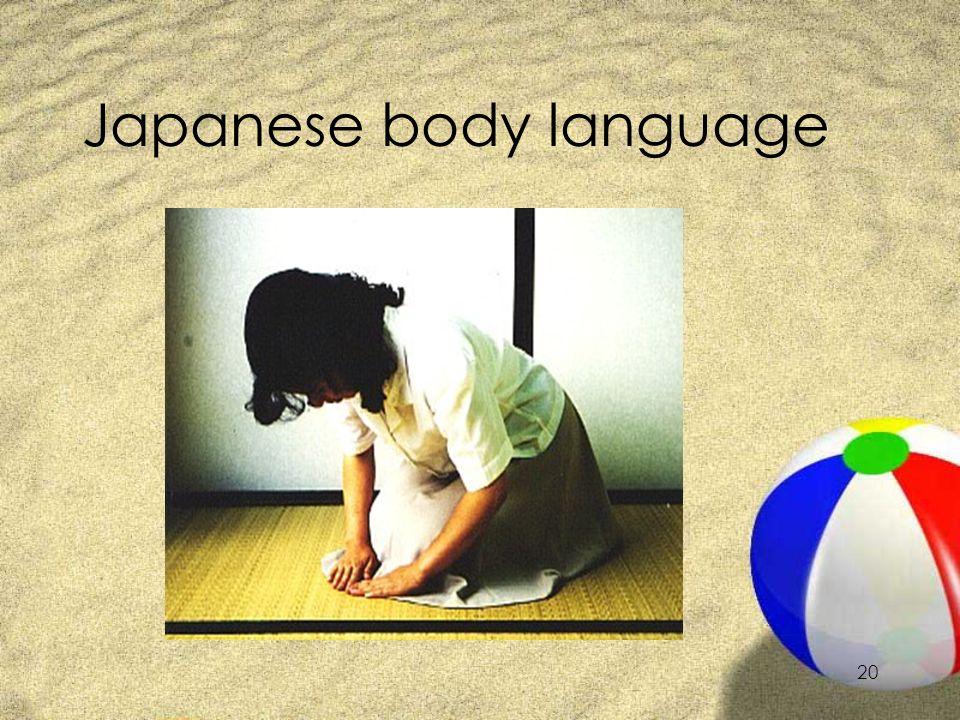 19 Japanese body language ZOhayoo gozaimasu. ZKonnichiwa. ZKonbanwa. ZArigatoo gozaimasu.