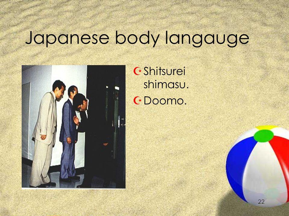 21 Japanese body langauge ZSumimasen. ZGomen nasai. ZMoushiwake arimasen.