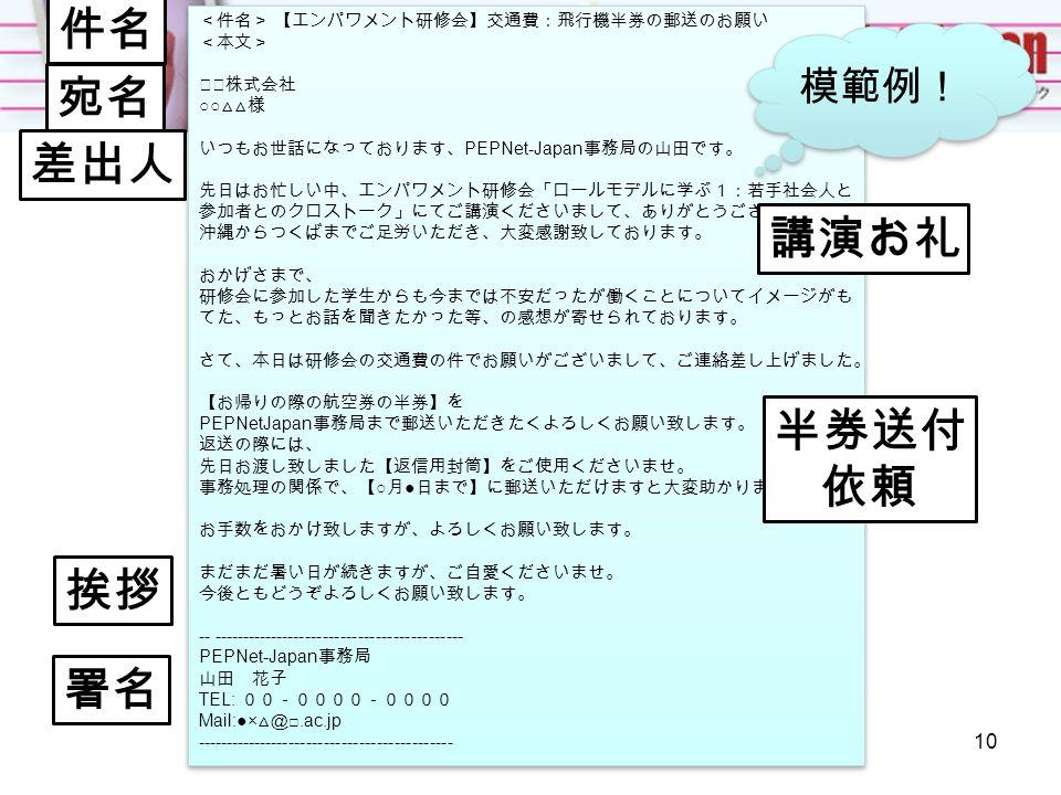 <件名> 【エンパワメント研修会】交通費:飛行機半券の郵送のお願い <本文> ◇◇株式会社 ○○ △△様 いつもお世話になっております、 PEPNet-Japan 事務局の山田です。 先日はお忙しい中、エンパワメント研修会「ロールモデルに学ぶ1:若手社会人と 参加者とのクロストーク」にてご講演くださいまして、ありがとうございました。 沖縄からつくばまでご足労いただき、大変感謝致しております。 おかげさまで、 研修会に参加した学生からも今までは不安だったが働くことについてイメージがも てた、もっとお話を聞きたかった等、の感想が寄せられております。 さて、本日は研修会の交通費の件でお願いがございまして、ご連絡差し上げました。 【お帰りの際の航空券の半券】を PEPNetJapan 事務局まで郵送いただきたくよろしくお願い致します。 返送の際には、 先日お渡し致しました【返信用封筒】をご使用くださいませ。 事務処理の関係で、【 ○ 月 ● 日まで】に郵送いただけますと大変助かります。 お手数をおかけ致しますが、よろしくお願い致します。 まだまだ暑い日が続きますが、ご自愛くださいませ。 今後ともどうぞよろしくお願い致します。 -- ------------------------------------------- PEPNet-Japan 事務局 山田 花子 TEL: 00-0000-0000 Mail:●× △@ □.ac.jp -------------------------------------------- <件名> 【エンパワメント研修会】交通費:飛行機半券の郵送のお願い <本文> ◇◇株式会社 ○○ △△様 いつもお世話になっております、 PEPNet-Japan 事務局の山田です。 先日はお忙しい中、エンパワメント研修会「ロールモデルに学ぶ1:若手社会人と 参加者とのクロストーク」にてご講演くださいまして、ありがとうございました。 沖縄からつくばまでご足労いただき、大変感謝致しております。 おかげさまで、 研修会に参加した学生からも今までは不安だったが働くことについてイメージがも てた、もっとお話を聞きたかった等、の感想が寄せられております。 さて、本日は研修会の交通費の件でお願いがございまして、ご連絡差し上げました。 【お帰りの際の航空券の半券】を PEPNetJapan 事務局まで郵送いただきたくよろしくお願い致します。 返送の際には、 先日お渡し致しました【返信用封筒】をご使用くださいませ。 事務処理の関係で、【 ○ 月 ● 日まで】に郵送いただけますと大変助かります。 お手数をおかけ致しますが、よろしくお願い致します。 まだまだ暑い日が続きますが、ご自愛くださいませ。 今後ともどうぞよろしくお願い致します。 -- ------------------------------------------- PEPNet-Japan 事務局 山田 花子 TEL: 00-0000-0000 Mail:●× △@ □.ac.jp -------------------------------------------- 模範例! 件名 宛名 差出人 講演お礼 半券送付 依頼 挨拶 署名 10
