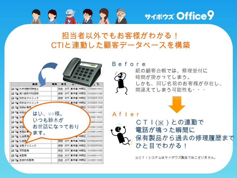 紙の顧客台帳では、修理受付に 時間が掛かってしまう。 しかも、同じ名前のお客様が存在し、 間違えてしまう可能性も・・・ CTI ( ※)との連動で 電話が鳴った瞬間に 保有製品から過去の修理履歴まで ひと目でわかる! Before After はい、 ○○ 様。 いつも鈴木が お世話になっており ます。 ※CTIシステムはサイボウズ製品ではございません。 担当者以外でもお客様がわかる! CTI と連動した顧客データベースを構築