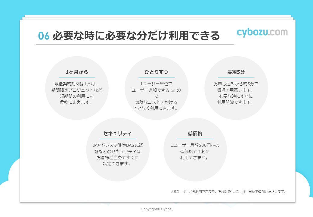 Copyright © Cybozu 06 必要な時に必要な分だけ利用できる 1ヶ月から 最低契約期間は1ヶ月。 期間限定プロジェクトなど 短期間の利用にも 柔軟に応えます。 ひとりずつ 1ユーザー単位で ユーザー追加できる (※) の で 無駄なコストをかける ことなく利用できます。 最短5分 お申し込みから約5分で 環境を用意します。 必要な時にすぐに 利用開始できます。 ※5ユーザーから利用できます。それ以降は1ユーザー単位で追加いただけます。 セキュリティ IPアドレス制限やBASIC認 証などのセキュリティは お客様ご自身ですぐに 設定できます。 低価格 1ユーザー月額500円〜の 低価格で手軽に 利用できます。