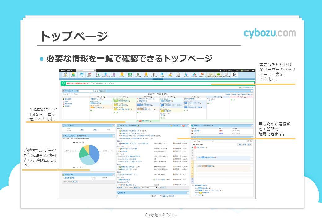 Copyright © Cybozu トップページ 必要な情報を一覧で確認できるトップページ 自分宛の新着情報 を1箇所で 確認できます。 1週間の予定と ToDoを一覧で 表示できます。 重要なお知らせは 全ユーザーのトップ ページへ表示 できます。 蓄積されたデータ が常に最新の情報 として確認出来ま す。