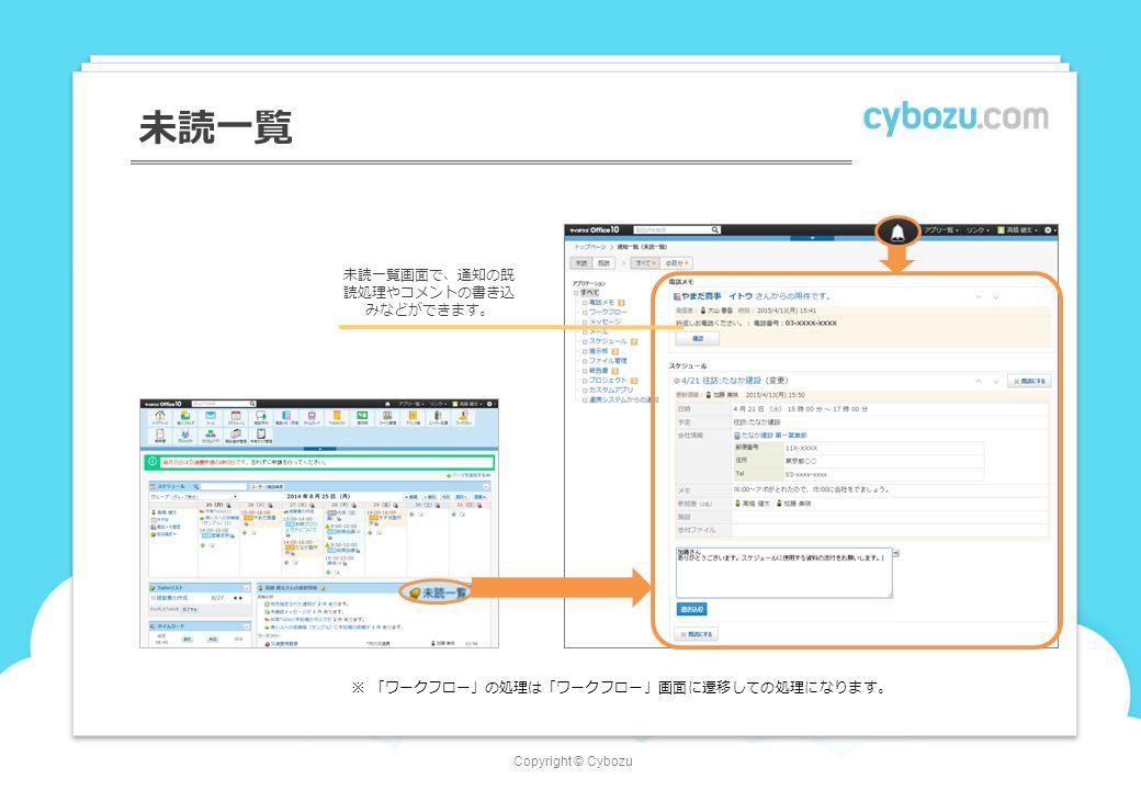 Copyright © Cybozu 未読一覧 ※「ワークフロー」の処理は「ワークフロー」画面に遷移しての処理になります。 未読一覧画面で、通知の既 読処理やコメントの書き込 みなどができます。