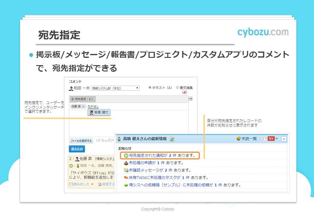 Copyright © Cybozu 宛先指定 宛先指定で、ユーザーを インクリメンタルサーチ で選択できます。 掲示板/メッセージ/報告書/プロジェクト/カスタムアプリのコメント で、宛先指定ができる 自分が宛先指定されたレコードの 件数がお知らせに表示されます