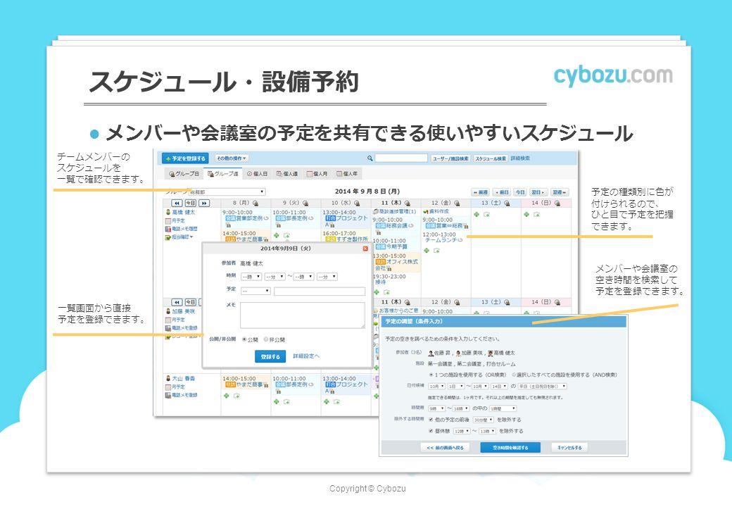 Copyright © Cybozu スケジュール・設備予約 チームメンバーの スケジュールを 一覧で確認できます。 メンバーや会議室の予定を共有できる使いやすいスケジュール 予定の種類別に色が 付けられるので、 ひと目で予定を把握 できます。 メンバーや会議室の 空き時間を検索して 予定を登録できます。 一覧画面から直接 予定を登録できます。