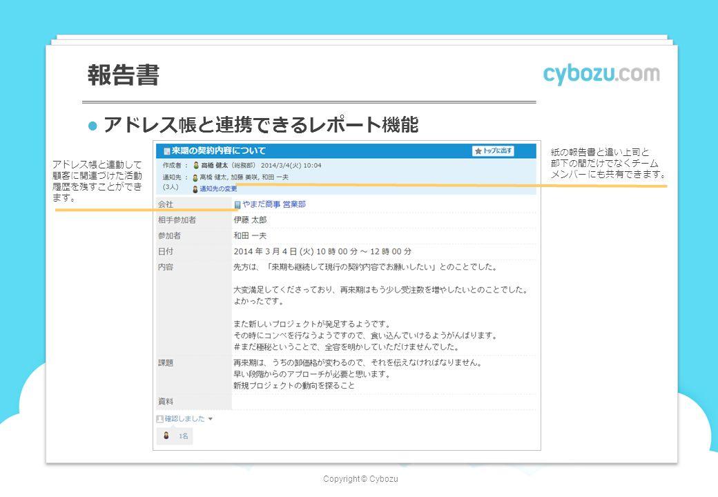 Copyright © Cybozu 報告書 アドレス帳と連携できるレポート機能 アドレス帳と連動して 顧客に関連づけた活動 履歴を残すことができ ます。 紙の報告書と違い上司と 部下の間だけでなくチーム メンバーにも共有できます。