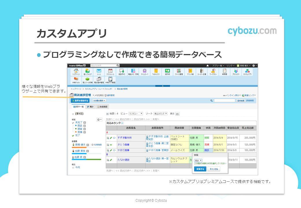 Copyright © Cybozu カスタムアプリ プログラミングなしで作成できる簡易データベース 様々な情報をWebブラ ウザー上で共有できます。 ※カスタムアプリはプレミアムコースで提供する機能です。