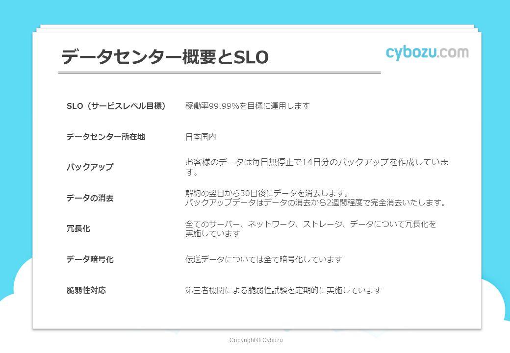 Copyright © Cybozu データセンター概要とSLO SLO(サービスレベル目標)稼働率99.99%を目標に運用します データセンター所在地日本国内 バックアップ お客様のデータは毎日無停止で14日分のバックアップを作成していま す。 データの消去 解約の翌日から30日後にデータを消去します。 バックアップデータはデータの消去から2週間程度で完全消去いたします。 冗長化 全てのサーバー、ネットワーク、ストレージ、データについて冗長化を 実施しています データ暗号化伝送データについては全て暗号化しています 脆弱性対応第三者機関による脆弱性試験を定期的に実施しています