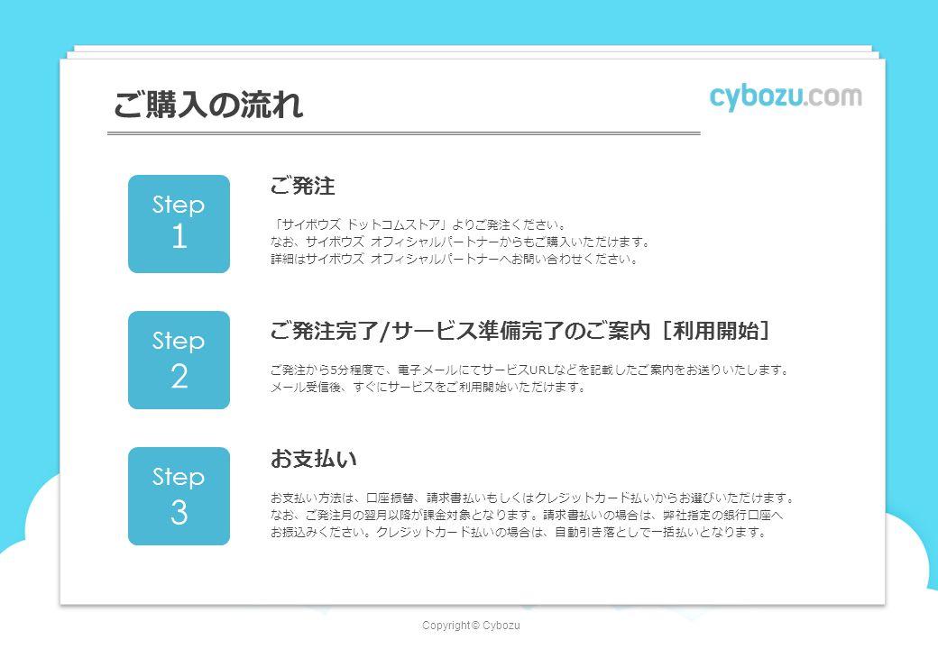 Copyright © Cybozu ご購入の流れ ご発注 「サイボウズ ドットコムストア」よりご発注ください。 なお、サイボウズ オフィシャルパートナーからもご購入いただけます。 詳細はサイボウズ オフィシャルパートナーへお問い合わせください。 Step 1 ご発注完了/サービス準備完了のご案内[利用開始] ご発注から5分程度で、電子メールにてサービスURLなどを記載したご案内をお送りいたします。 メール受信後、すぐにサービスをご利用開始いただけます。 Step 2 お支払い お支払い方法は、口座振替、請求書払いもしくはクレジットカード払いからお選びいただけます。 なお、ご発注月の翌月以降が課金対象となります。請求書払いの場合は、弊社指定の銀行口座へ お振込みください。クレジットカード払いの場合は、自動引き落としで一括払いとなります。 Step 3