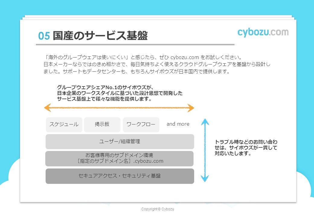 Copyright © Cybozu 05 国産のサービス基盤 スケジュール お客様専用のサブドメイン環境 [指定のサブドメイン名].cybozu.com ユーザー/組織管理 セキュアアクセス・セキュリティ基盤 グループウェアシェアNo.1のサイボウズが、 日本企業のワークスタイルに基づいた設計思想で開発した サービス基盤上で様々な機能を提供します。 トラブル時などのお問い合わ せは、サイボウズが一貫して 対応いたします。 「海外のグループウェアは使いにくい」と感じたら、ぜひ cybozu.com をお試しください。 日本メーカーならではのきめ細かさで、毎日気持ちよく使えるクラウドグループウェアを基盤から設計し ました。サポートもデータセンターも、もちろんサイボウズが日本国内で提供します。 掲示板ワークフロー and more
