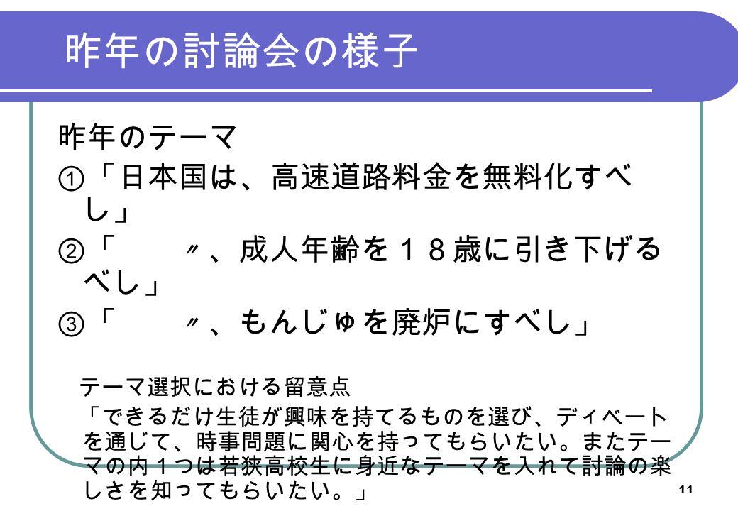 昨年の討論会の様子 昨年のテーマ ①「日本国は、高速道路料金を無料化すべ し」 ②「 〃、成人年齢を18歳に引き下げる べし」 ③「 〃、もんじゅを廃炉にすべし」 テーマ選択における留意点 「できるだけ生徒が興味を持てるものを選び、ディベート を通じて、時事問題に関心を持ってもらいたい。またテー マの内1つは若狭高校生に身近なテーマを入れて討論の楽 しさを知ってもらいたい。」 11