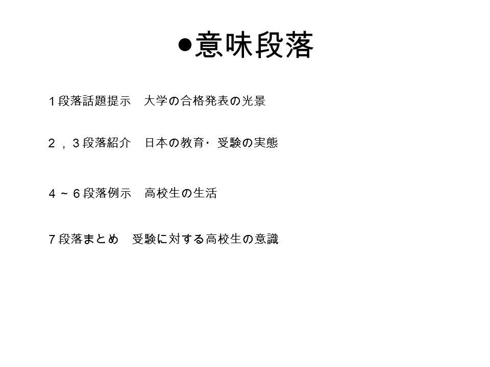 ● 意味段落 1段落話題提示 大学の合格発表の光景 2,3段落紹介 日本の教育・受験の実態 4~6段落例示 高校生の生活 7段落まとめ 受験に対する高校生の意識