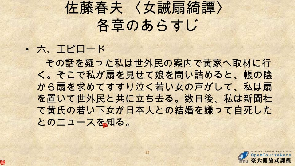 六、エピロード その話を疑った私は世外民の案内で黄家へ取材に行 く。そこで私が扇を見せて娘を問い詰めると、帳の陰 から扇を求めてすすり泣く若い女の声がして、私は扇 を置いて世外民と共に立ち去る。数日後、私は新聞社 で黄氏の若い下女が日本人との結婚を嫌って自死した とのニュースを知る。 13 佐藤春夫 〈女誡扇綺譚〉 各章のあらすじ