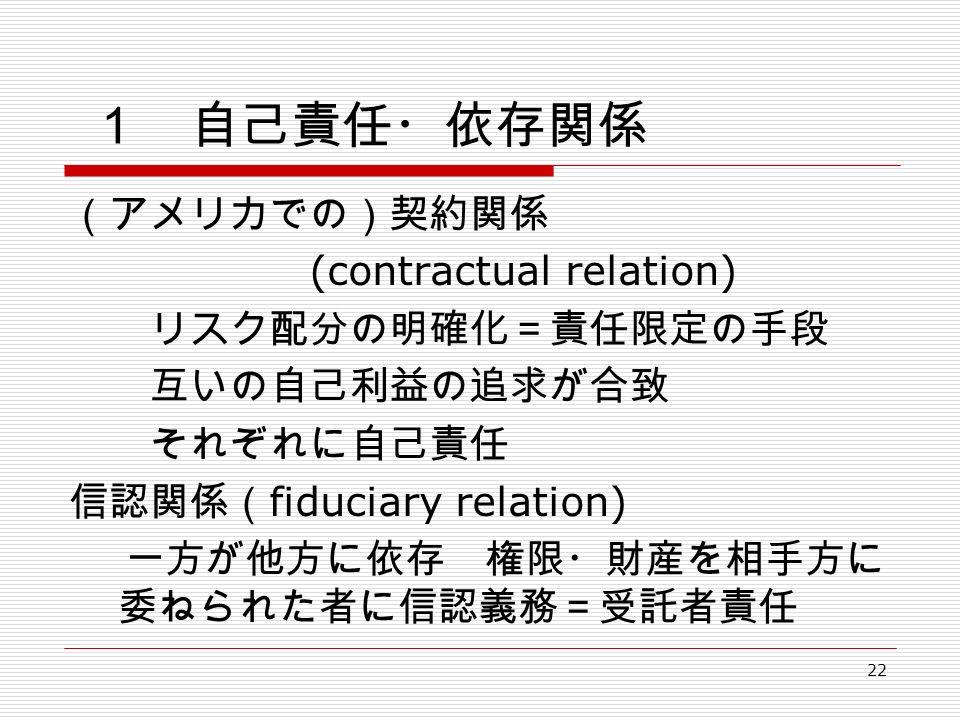 22 1 自己責任・依存関係 (アメリカでの)契約関係 (contractual relation) リスク配分の明確化=責任限定の手段 互いの自己利益の追求が合致 それぞれに自己責任 信認関係( fiduciary relation) 一方が他方に依存 権限・財産を相手方に 委ねられた者に信認義務=受託者責任