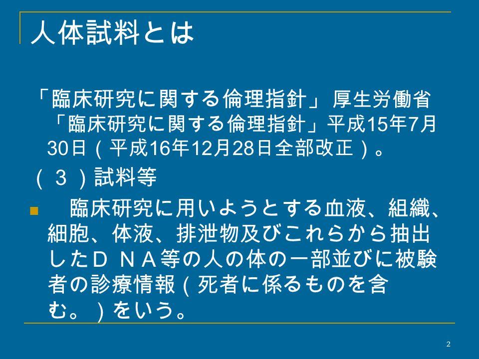 人体試料とは 「臨床研究に関する倫理指針」 厚生労働省 「臨床研究に関する倫理指針」平成 15 年 7 月 30 日(平成 16 年 12 月 28 日全部改正)。 (3)試料等 臨床研究に用いようとする血液、組織、 細胞、体液、排泄物及びこれらから抽出 したD NA等の人の体の一部並びに被験 者の診療情報(死者に係るものを含 む。)をいう。 2