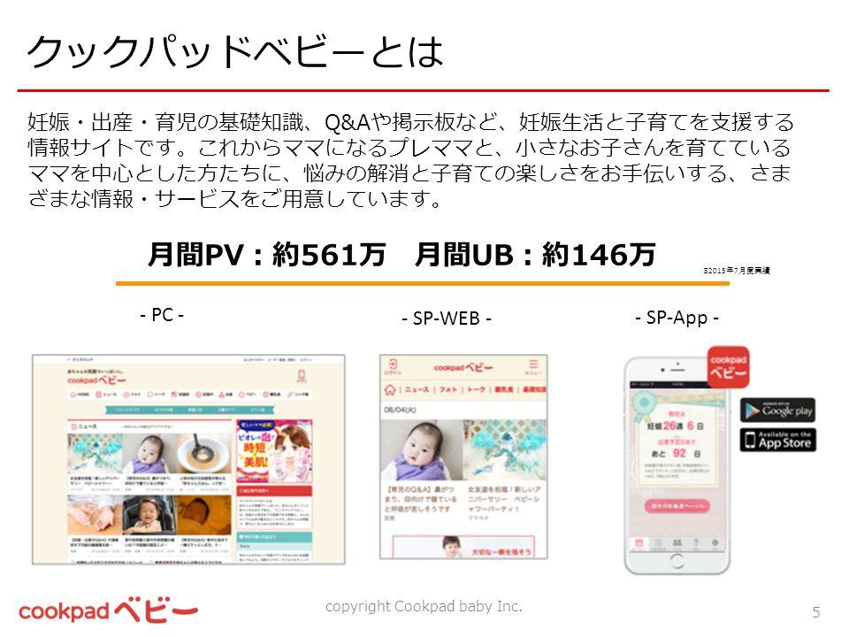 クックパッドベビーとは 妊娠・出産・育児の基礎知識、Q&Aや掲示板など、妊娠生活と子育てを支援する 情報サイトです。これからママになるプレママと、小さなお子さんを育てている ママを中心とした方たちに、悩みの解消と子育ての楽しさをお手伝いする、さま ざまな情報・サービスをご用意しています。 - PC - - SP-WEB - - SP-App - 月間PV:約561万 月間UB:約146万 copyright Cookpad baby Inc.
