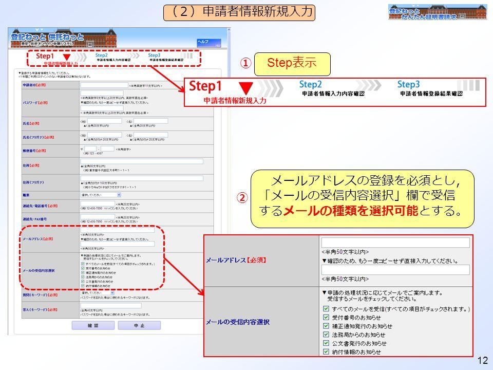 12 (2)申請者情報新規入力 Step 表示 メールアドレスの登録を必須とし, 「メールの受信内容選択」欄で受信 するメールの種類を選択可能とする。 ② ①