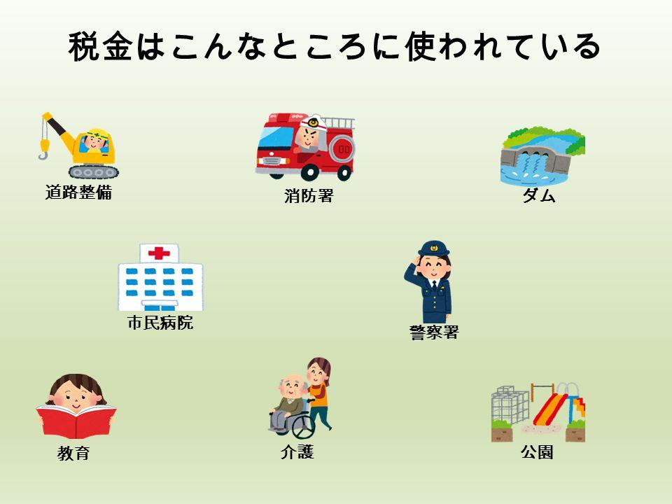 税金はこんなところに使われている 公園 教育 ダム 市民病院 介護 消防署 道路整備 警察署