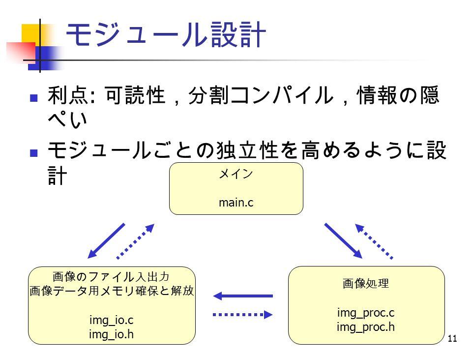 11 モジュール設計 利点 : 可読性,分割コンパイル,情報の隠 ぺい モジュールごとの独立性を高めるように設 計 メイン main.c 画像処理 img_proc.c img_proc.h 画像のファイル入出力 画像データ用メモリ確保と解放 img_io.c img_io.h