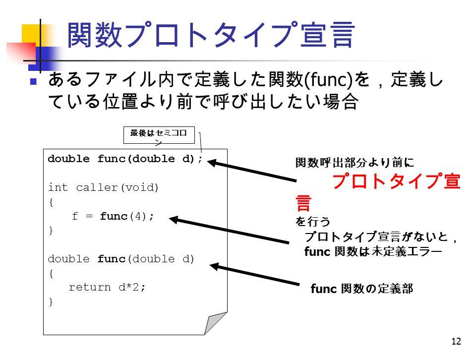 12 関数プロトタイプ宣言 double func(double d); int caller(void) { f = func(4); } double func(double d) { return d*2; } 関数呼出部分より前に プロトタイプ宣 言 を行う 最後はセミコロ ン あるファイル内で定義した関数 (func) を,定義し ている位置より前で呼び出したい場合 プロトタイブ宣言がないと, func 関数は未定義エラー func 関数の定義部