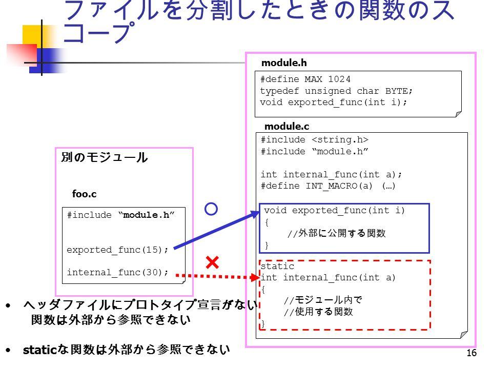 16 ファイルを分割したときの関数のス コープ × ○ #include #include module.h int internal_func(int a); #define INT_MACRO(a) (…) static int internal_func(int a) { // モジュール内で // 使用する関数 } module.c module.h void exported_func(int i) { // 外部に公開する関数 } #define MAX 1024 typedef unsigned char BYTE; void exported_func(int i); 別のモジュール #include module.h exported_func(15); internal_func(30); foo.c ヘッダファイルにプロトタイプ宣言がない 関数は外部から参照できない static な関数は外部から参照できない
