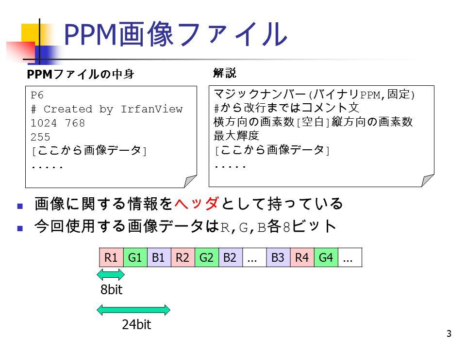 PPM 画像ファイル 3 画像に関する情報をヘッダとして持っている 今回使用する画像データは R,G,B 各 8 ビット P6 # Created by IrfanView 1024 768 255 [ ここから画像データ ].....