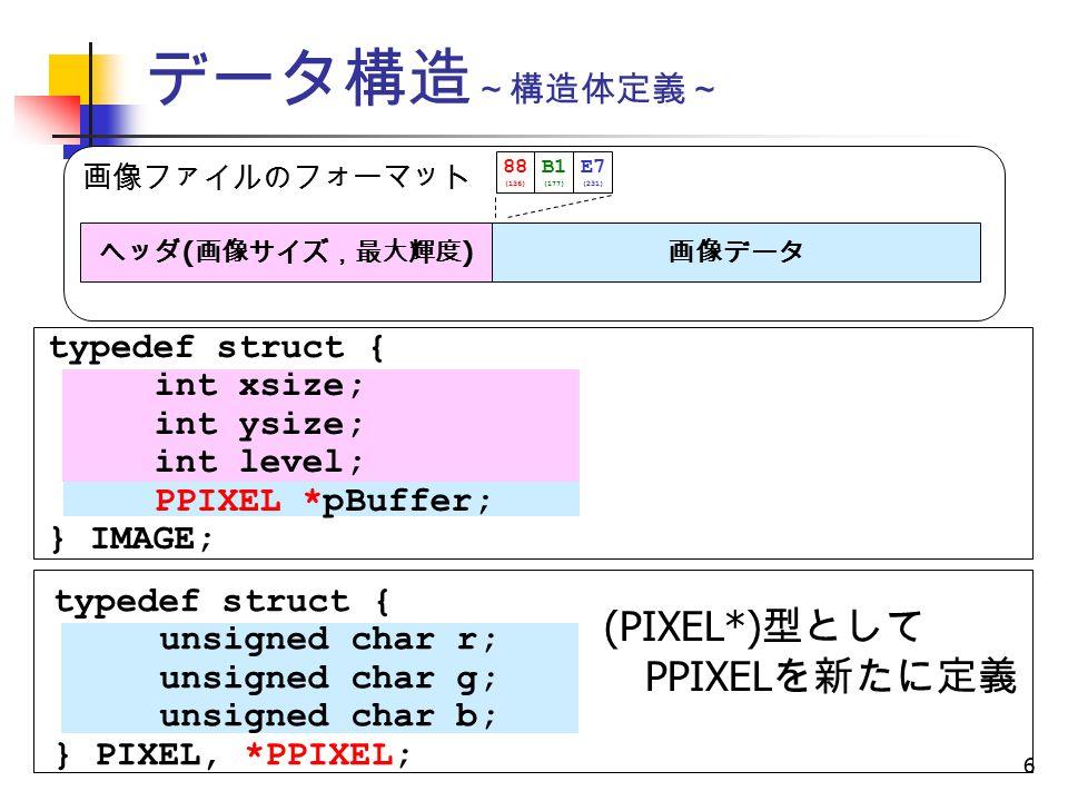 6 データ構造 ~構造体定義~ 画像ファイルのフォーマット ヘッダ ( 画像サイズ,最大輝度 ) 画像データ 88 (136) B1 (177) E7 (231) typedef struct { int xsize; int ysize; int level; PPIXEL *pBuffer; } IMAGE; typedef struct { unsigned char r; unsigned char g; unsigned char b; } PIXEL, *PPIXEL; (PIXEL*) 型として PPIXEL を新たに定義