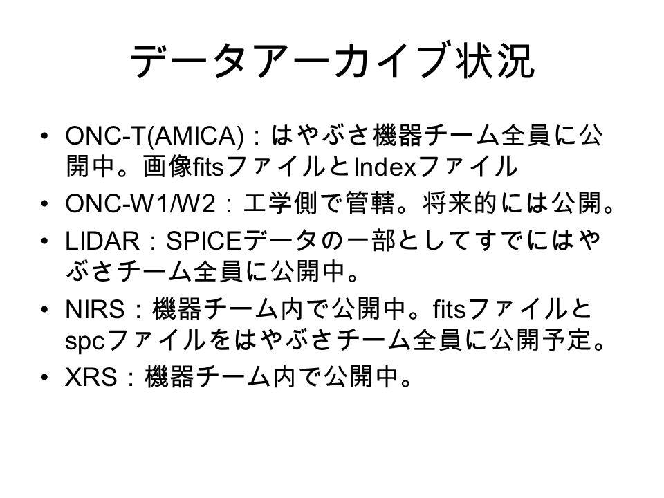 データアーカイブ状況 ONC-T(AMICA) :はやぶさ機器チーム全員に公 開中。画像 fits ファイルと Index ファイル ONC-W1/W2 :工学側で管轄。将来的には公開。 LIDAR : SPICE データの一部としてすでにはや ぶさチーム全員に公開中。 NIRS :機器チーム内で公開中。 fits ファイルと spc ファイルをはやぶさチーム全員に公開予定。 XRS :機器チーム内で公開中。