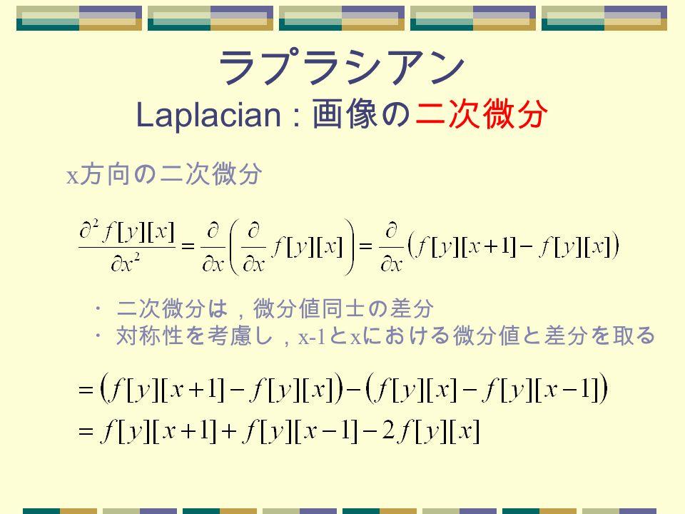 ラプラシアン Laplacian : 画像の二次微分 x 方向の二次微分 ・二次微分は,微分値同士の差分 ・対称性を考慮し, x-1 と x における微分値と差分を取る