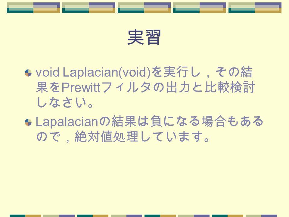 実習 void Laplacian(void) を実行し,その結 果を Prewitt フィルタの出力と比較検討 しなさい。 Lapalacian の結果は負になる場合もある ので,絶対値処理しています。