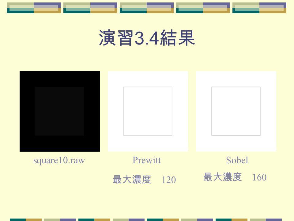 演習 3.4 結果 square10.rawPrewittSobel 最大濃度 120 最大濃度 160