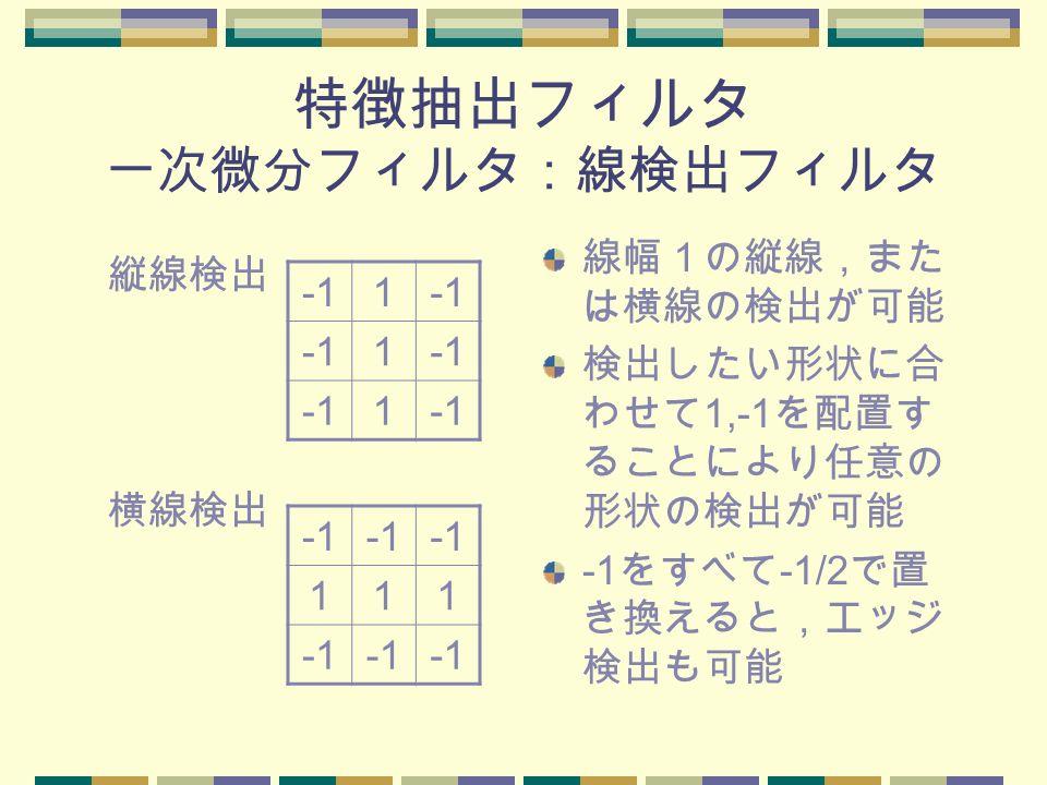 特徴抽出フィルタ 一次微分フィルタ:線検出フィルタ 線幅1の縦線,また は横線の検出が可能 検出したい形状に合 わせて 1,-1 を配置す ることにより任意の 形状の検出が可能 -1 をすべて -1/2 で置 き換えると,エッジ 検出も可能 縦線検出 1 1 1 横線検出 111