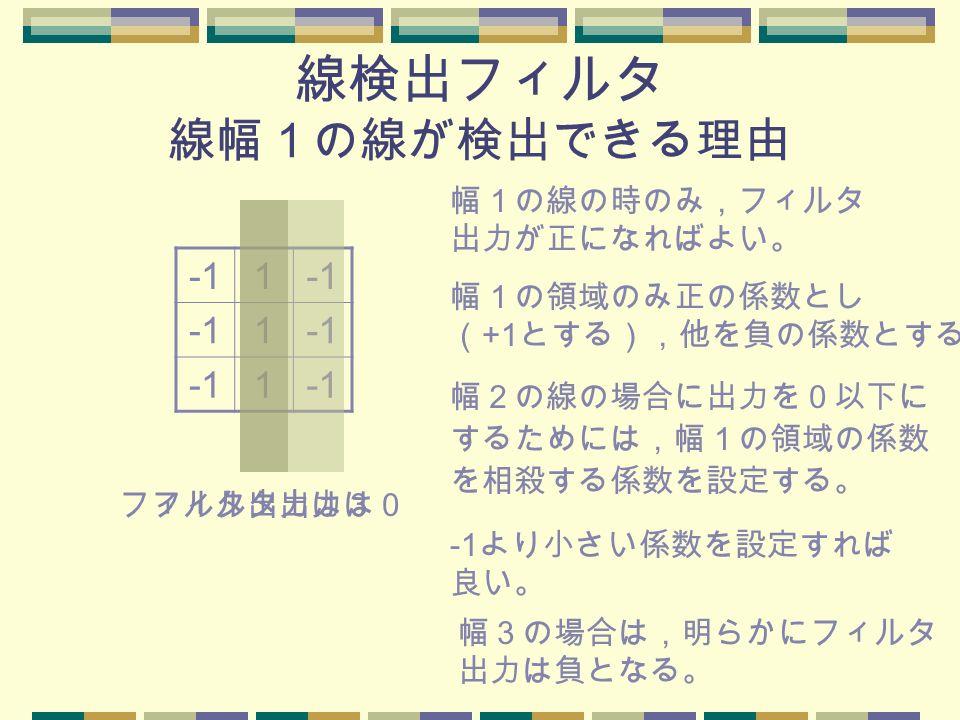 線検出フィルタ 線幅1の線が検出できる理由 1 1 1 幅1の線の時のみ,フィルタ 出力が正になればよい。 幅1の領域のみ正の係数とし ( +1 とする),他を負の係数とする。 幅2の線の場合に出力を0以下に するためには,幅1の領域の係数 を相殺する係数を設定する。 -1 より小さい係数を設定すれば 良い。 幅3の場合は,明らかにフィルタ 出力は負となる。 フィルタ出力は3フィルタ出力は0