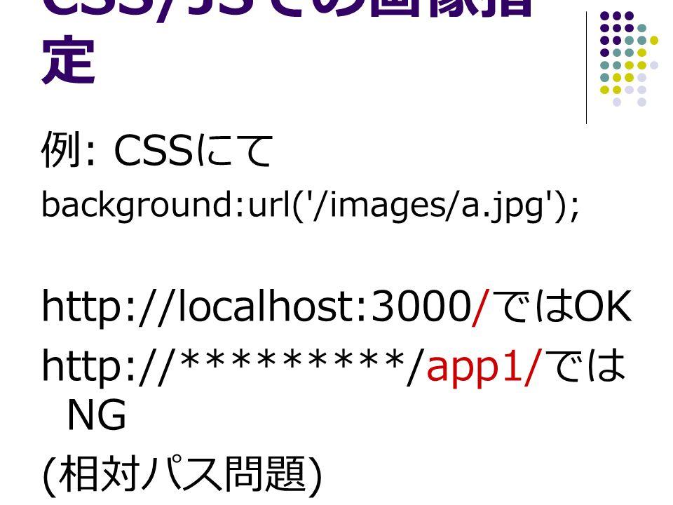 CSS/JS での画像指 定 例 : CSS にて background:url( /images/a.jpg ); http://localhost:3000/ では OK http://*********/app1/ では NG ( 相対パス問題 )