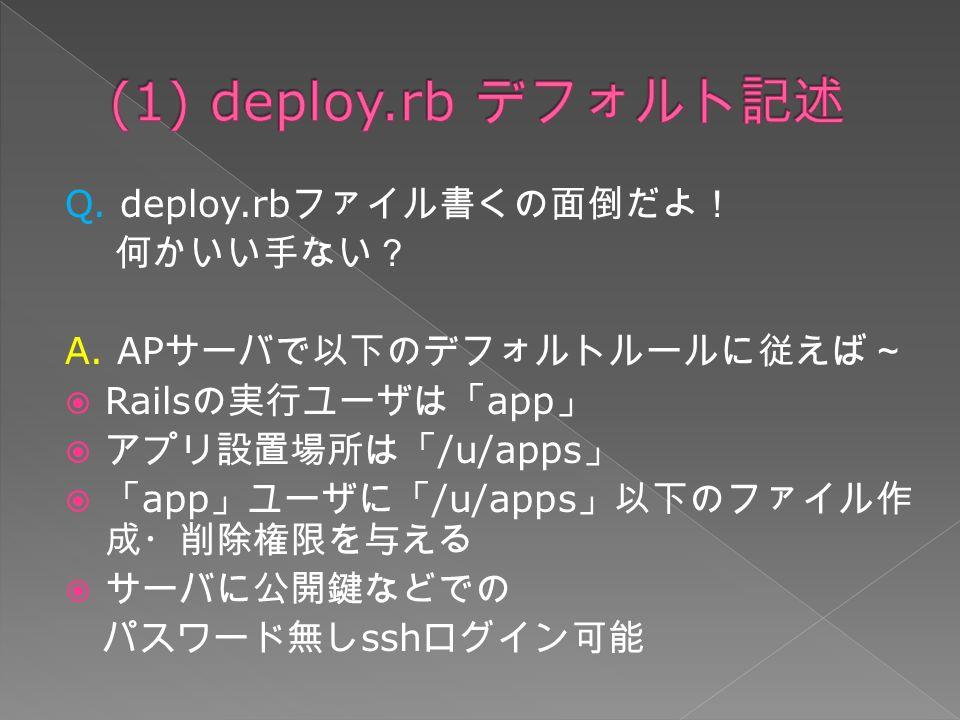 Q. deploy.rb ファイル書くの面倒だよ! 何かいい手ない? A.