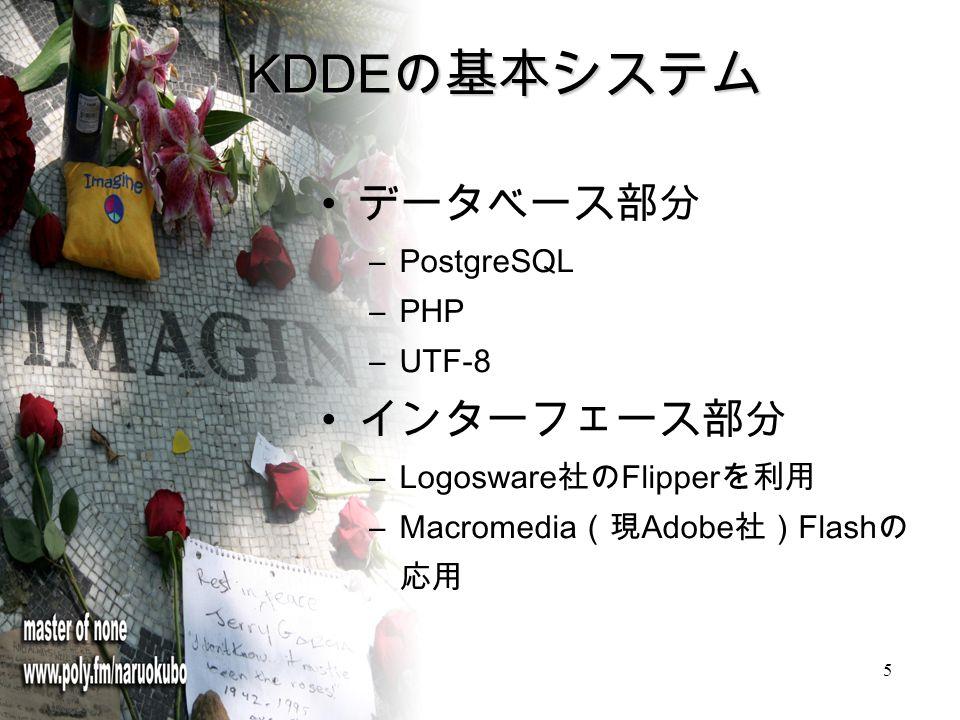 5 KDDE の基本システム データベース部分 –PostgreSQL –PHP –UTF-8 インターフェース部分 –Logosware 社の Flipper を利用 –Macromedia (現 Adobe 社) Flash の 応用