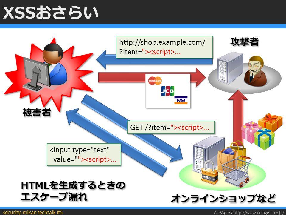 NetAgent http://www.netagent.co.jp/ security-mikan techtalk #5 XSSおさらい http://shop.example.com/ item= >...