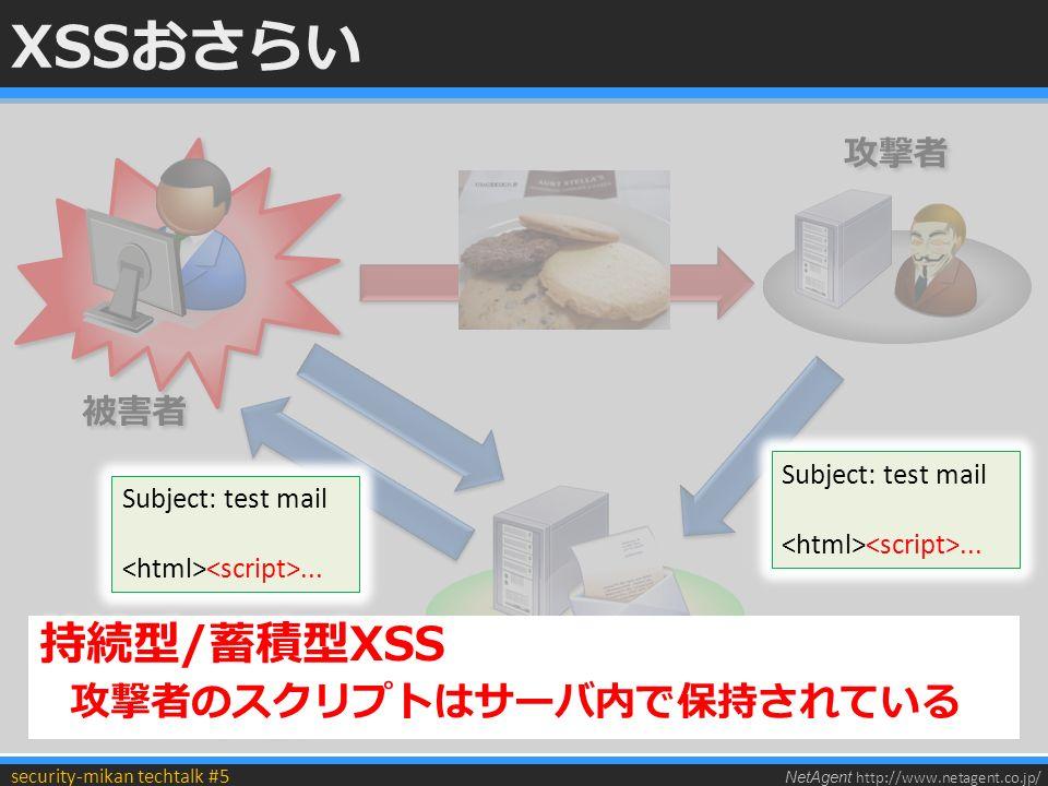 NetAgent http://www.netagent.co.jp/ security-mikan techtalk #5 XSSおさらい HTMLを生成するときの エスケープ漏れ HTMLを生成するときの エスケープ漏れ 被害者 攻撃者 Webメールなど Subject: test mail...