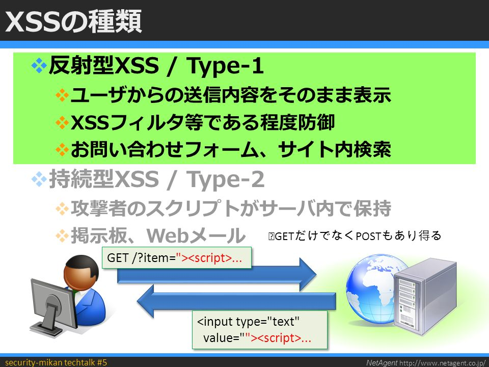 NetAgent http://www.netagent.co.jp/ security-mikan techtalk #5 XSSの種類  反射型XSS / Type-1  ユーザからの送信内容をそのまま表示  XSSフィルタ等である程度防御  お問い合わせフォーム、サイト内検索  持続型XSS / Type-2  攻撃者のスクリプトがサーバ内で保持  掲示板、Webメール GET / item= >......