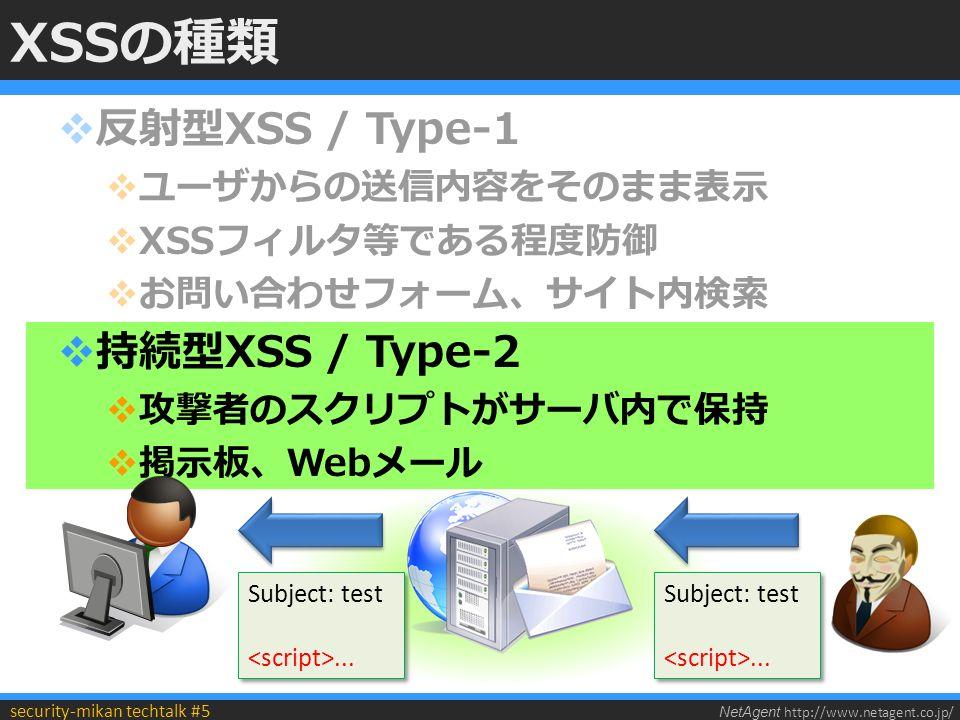 NetAgent http://www.netagent.co.jp/ security-mikan techtalk #5 XSSの種類  反射型XSS / Type-1  ユーザからの送信内容をそのまま表示  XSSフィルタ等である程度防御  お問い合わせフォーム、サイト内検索  持続型XSS / Type-2  攻撃者のスクリプトがサーバ内で保持  掲示板、Webメール Subject: test...