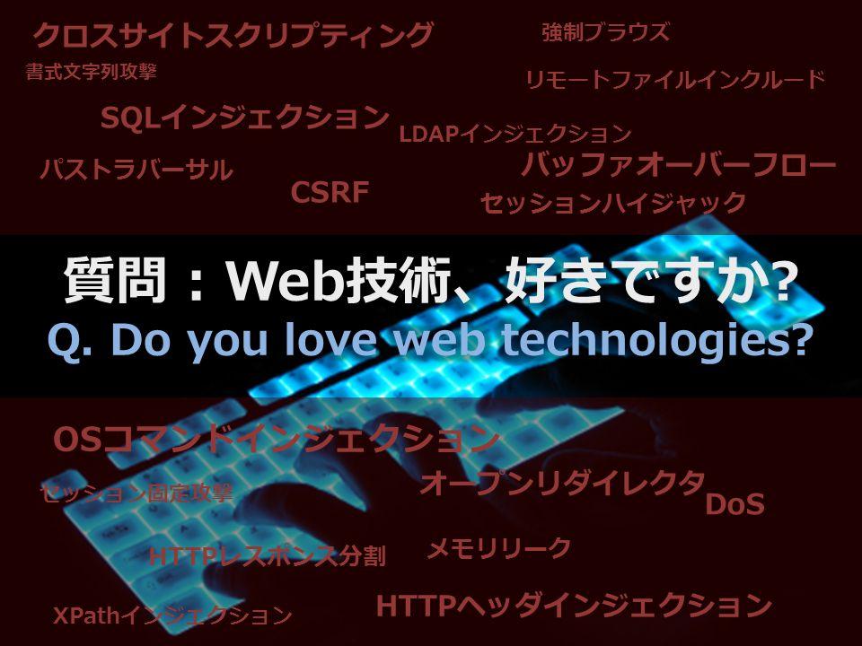 クロスサイトスクリプティング SQLインジェクション CSRF HTTPレスポンス分割 オープンリダイレクタ HTTPヘッダインジェクション セッションハイジャック パストラバーサル リモートファイルインクルード DoS OSコマンドインジェクション メモリリーク バッファオーバーフロー 強制ブラウズ セッション固定攻撃 LDAPインジェクション XPathインジェクション 書式文字列攻撃