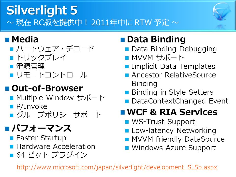 Silverlight 5 Silverlight 5 ~ 現在 RC版を提供中! 2011年中に RTW 予定 ~ Media ハートウェア・デコード トリックプレイ 電源管理 リモートコントロール Out-of-Browser Multiple Window サポート P/Invoke グループポリシーサポート パフォーマンス Faster Startup Hardware Acceleration 64 ビット プラグイン Data Binding Data Binding Debugging MVVM サポート Implicit Data Templates Ancestor RelativeSource Binding Binding in Style Setters DataContextChanged Event WCF & RIA Services WS-Trust Support Low-latency Networking MVVM friendly DataSource Windows Azure Support http://www.microsoft.com/japan/silverlight/development_SL5b.aspx