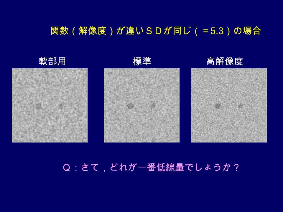 関数(解像度)が違いSDが同じ(= 5.3 )の場合 軟部用標準高解像度 Q:さて,どれが一番低線量でしょうか?