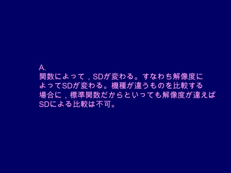 A. 関数によって, SD が変わる。すなわち解像度に よって SD が変わる。機種が違うものを比較する 場合に,標準関数だからといっても解像度が違えば SD による比較は不可。