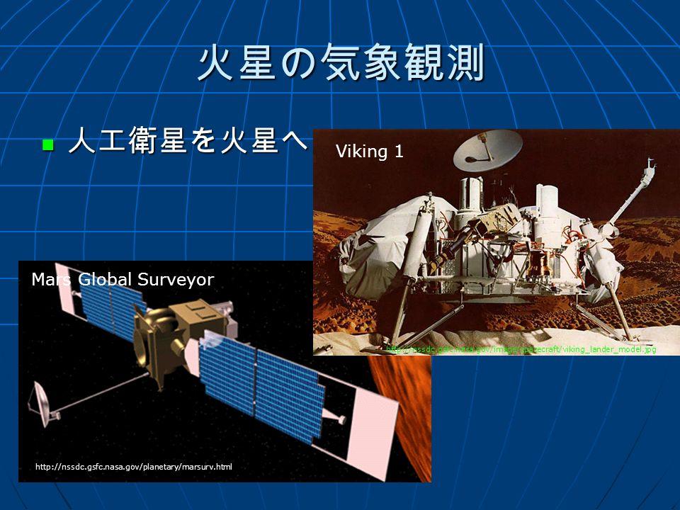 火星の気象観測 人工衛星を火星へ 人工衛星を火星へ http://nssdc.gsfc.nasa.gov/image/spacecraft/viking_lander_model.jpg http://nssdc.gsfc.nasa.gov/planetary/marsurv.html Viking 1 Mars Global Surveyor