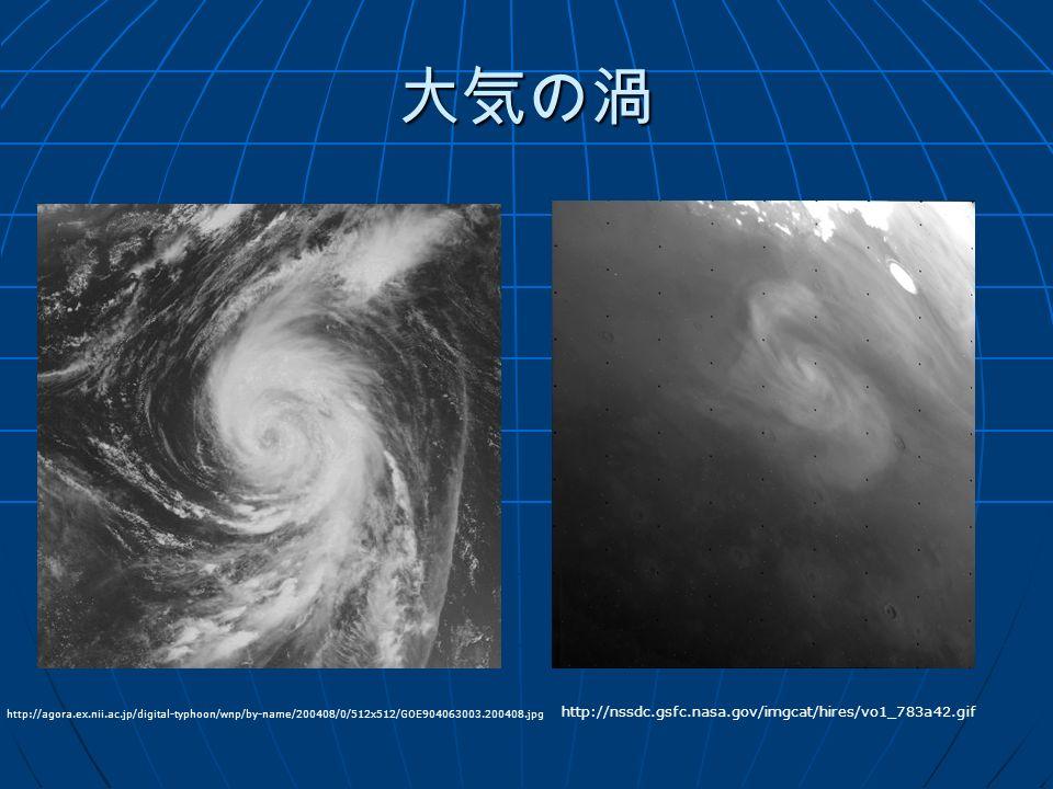 大気の渦 http://nssdc.gsfc.nasa.gov/imgcat/hires/vo1_783a42.gif http://agora.ex.nii.ac.jp/digital-typhoon/wnp/by-name/200408/0/512x512/GOE904063003.200408.jpg