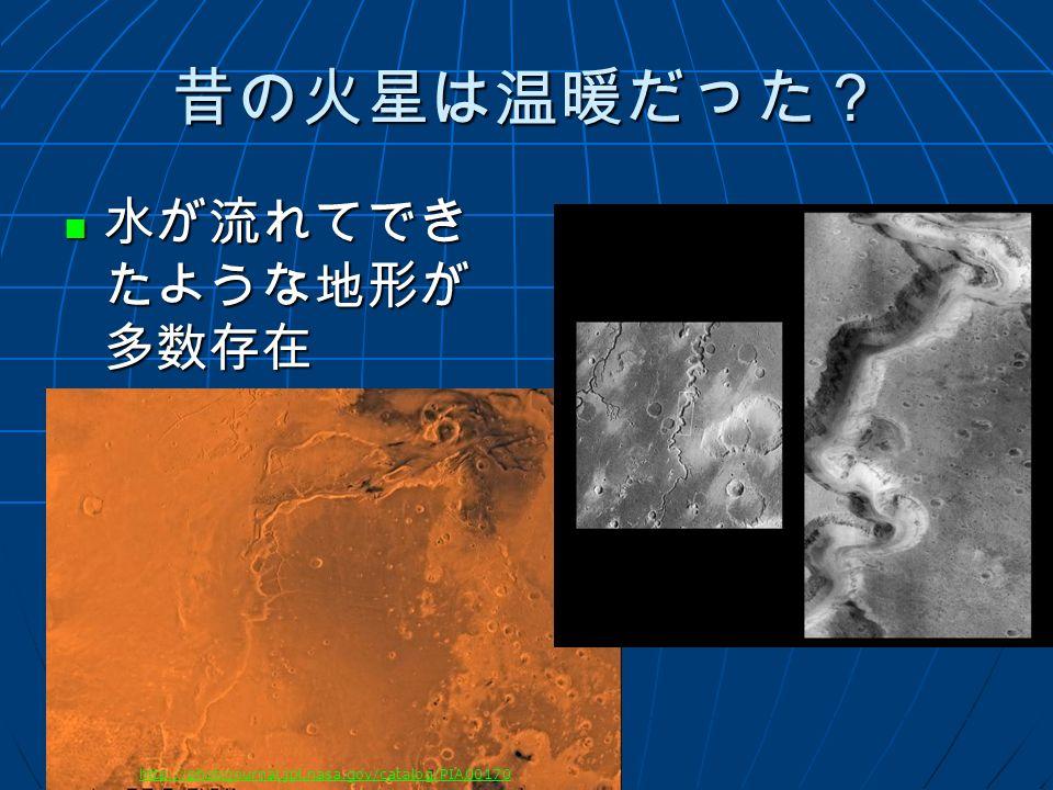 昔の火星は温暖だった? 水が流れてでき たような地形が 多数存在 水が流れてでき たような地形が 多数存在 http://photojournal.jpl.nasa.gov/catalog/PIA00170