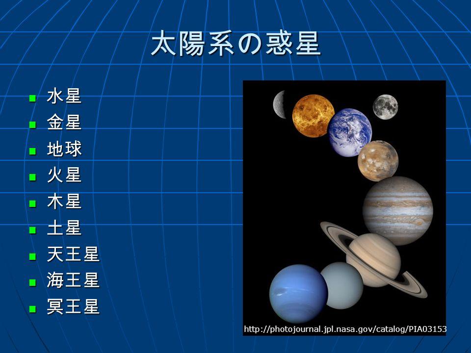 太陽系の惑星 水星 水星 金星 金星 地球 地球 火星 火星 木星 木星 土星 土星 天王星 天王星 海王星 海王星 冥王星 冥王星 http://photojournal.jpl.nasa.gov/catalog/PIA03153